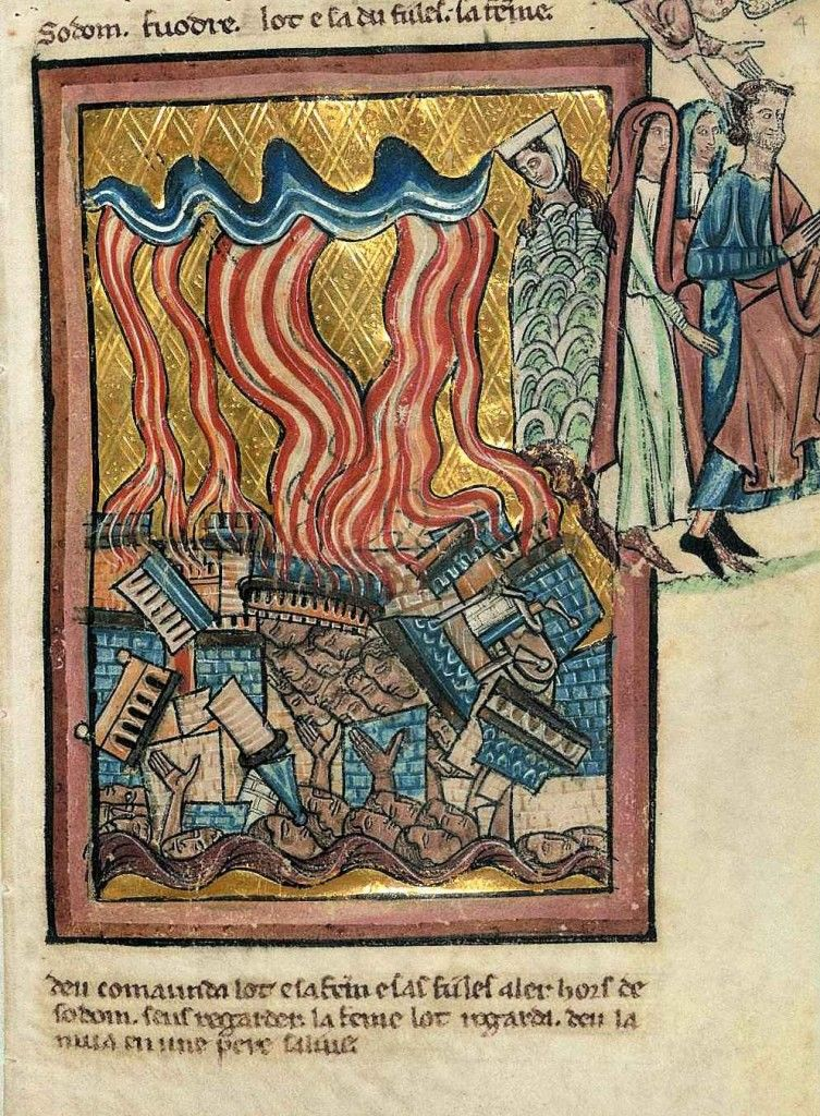 A destrucição de Sodoma, segundo iluminura do século XIII, William de Brailes (1230 – 1260)