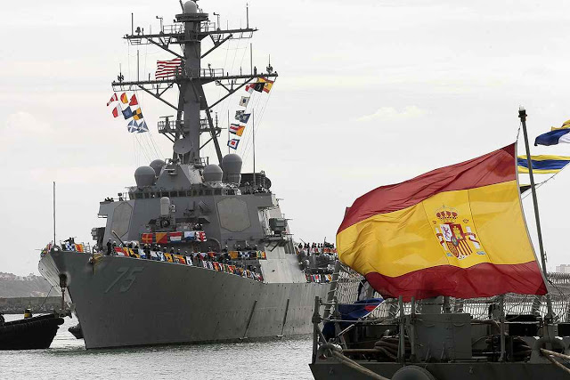 The guided-missile destroyer USS Donald Cook arrives at Naval Station Rota, Spain, on Tuesday, Feb. 11, 2014. The first of four U.S. destroyers forming part of NATO's new anti-missile shield for Europe has arrived at a southern Spanish naval base used by the U.S. Navy. A statement on NATO's website said the USS Donald Cook, a multi-mission Missile Defense-capable Aegis Destroyer, arrived Tuesday at Rota base, where it will be permanently based. (AP Photo/ Alfonso Perez)